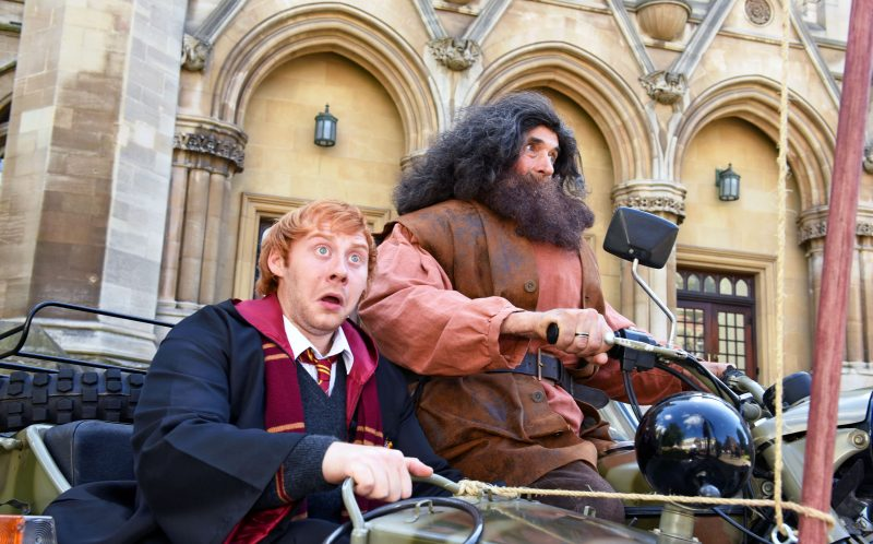PIC BY KORAY EROL/CATERS NEWS - (PICTURED: Lewis Parker as Ron Weasley, and Edmond Wells as Hagrid. ) - Seeing double? Red head Lewis Parker reckons hes the UKs best Ron Weasley lookalike - and charges up to 1000 a time for appearances. Lewis, 25, can charge four-figure sums to appear at Harry Potter conventions - and says that since the release of Harry Potter and the Cursed Child, his bookings have skyrocketed. Lewis, from Holbeach, Lincs, has spent almost a decade working as a marble mason - but is hoping to become a full-time Ron Weasley impersonator after he began working as a lookalike last year - despite being more than a decade older than Ron. SEE CATERS COPY.