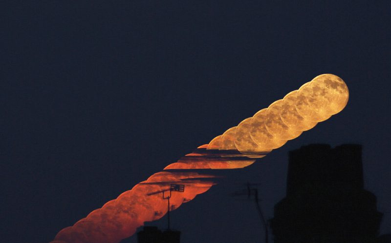 PIC BY ROGER HUTCHINSON/MEDIA DRUM WORLD/CATERS NEWS - PICTURED: Moonrise. LONDON, UK: DEFYING the light pollution of our capital city these stunning images of outer space have been taken by an amateur astronomer from his back garden in West London. Rivalling images taken by multimillion dollar spacecraft, the spectacular shots show incredible close-ups of the moon including the Apollo 15 landing site, Jupiter and Mercury. Other pictures show the International Space Station passing over London, a comet whizzing by and the moon rising high into the night sky. The awesome array of photos were taken by IT solutions architect and amateur astronomer Roger Hutchinson (49) from London. The married father-of-two captured the images from the modest observatory he has constructed with his own hands in the back garden of his home. SEE CATERS COPY.