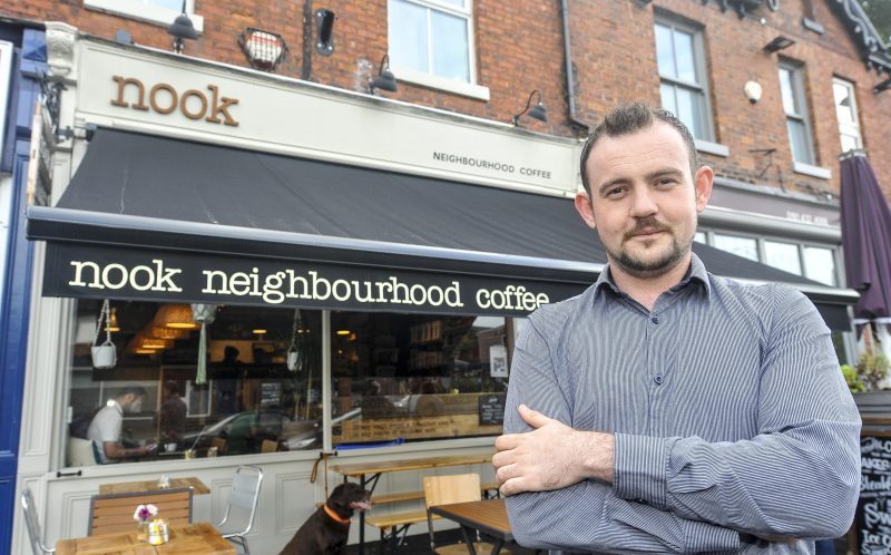 PIC BY DAN ROWLANDS/MERCURY PRESS (PICTURED: NOOK NEIGHBOURHOOD CAFE MANAGER ARLO CALDERBANK, 27)  A caf owner is hitting back at negative TripAdvisor reviews  by writing them up on their A-board in bid to lure in customers with the worst porridge one woman had in her life. Arlo Calderbank, 27, manager at the Nook Neighbourhood Caf in Stockport, Greater Manchester, was stunned by the vitriolic comments left on the popular review website. Rather than let the reviews get him down, Arlo instead began writing them on the black board in a series of tongue-in-cheek messages, which have gone viral  online  clocking up more than 12,000 likes and 2,000 shares.SEE MERCURY COPY