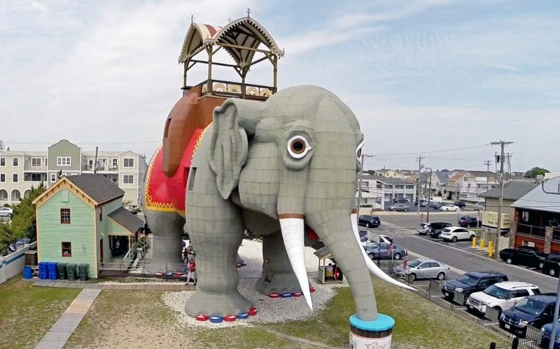 ****MANDATORY BYLINE PIC BY AIRQUAD.COM/WWW.LUCYTHEELEPHANT.ORG/CATERS NEWS *** (PICTURED: Lucy the Elephant is a 65 ft wooden elephant structure in Margate, NJ, USA and considered to be a national historic landmark. ***Permission to use image granted by the Save Lucy Committee, Inc.***) -  Imaginative architects have taken designs to the next level by building them in the shape of ANIMALS. Keen pet-lovers can visit hotels, churches and museums resembling dogs, cats and even elephants across the globe. The awe-inspiring structures, designed by a variety of animal enthusiasts, can be found in India, Germany and Florida to name a few. SEE CATERS COPY.. ***Permission to use image granted by the Save Lucy Committee, Inc.***
