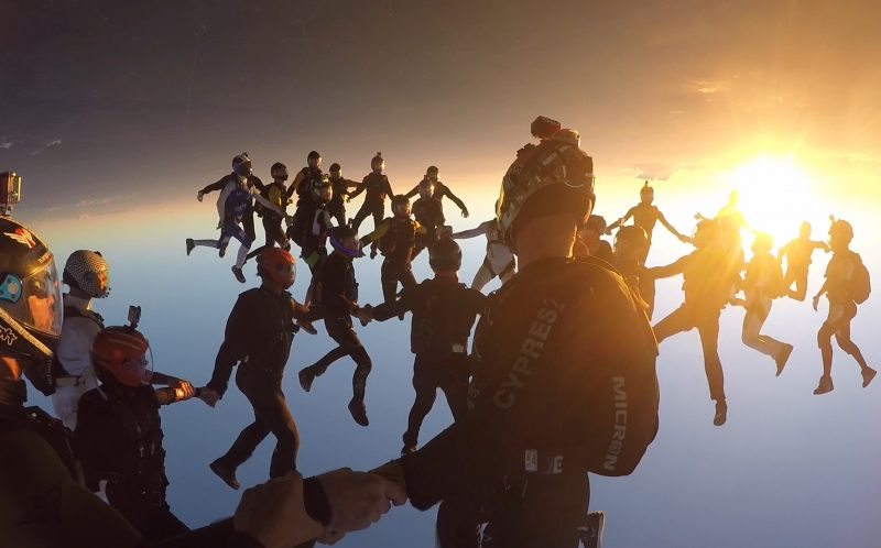 World record breaking skydivers - Caters News Agency
