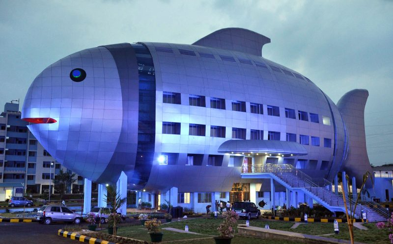 ***MANDATORY BYLINE PIC BY NATIONAL FISHERIES DEVELOPMENT BOARD INDIA/CATERS NEWS - (PICTURED: The fish building serves as an office for the National Fisheries Development Board in Hyderabad, India.) - Imaginative architects have taken designs to the next level by building them in the shape of ANIMALS. Keen pet-lovers can visit hotels, churches and museums resembling dogs, cats and even elephants across the globe. The awe-inspiring structures, designed by a variety of animal enthusiasts, can be found in India, Germany and Florida to name a few. SEE CATERS COPY.