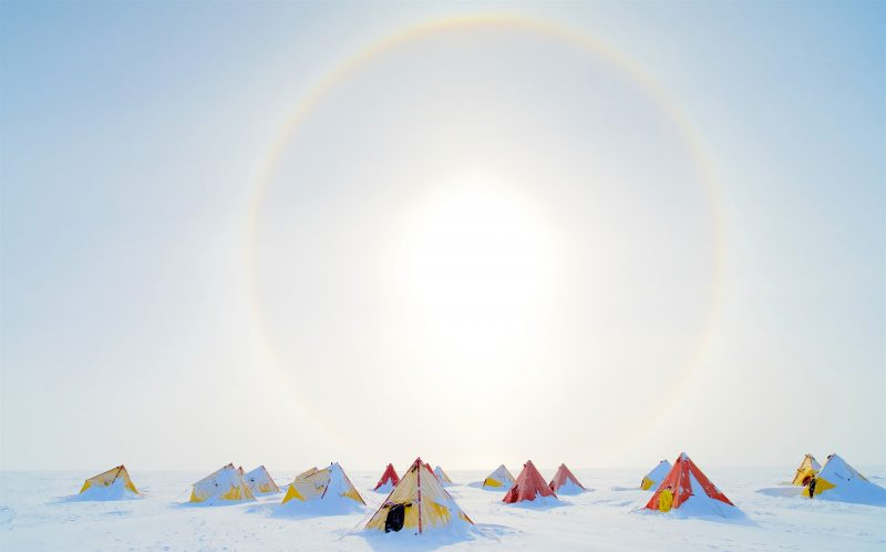 **NOTE TO PICDESKS, PLEASE CREDIT PHOTOGRAPHER NAME/ CATERS NEWS** Pic from Fleming/ Caters News (pic shows Aurora Basin Camp, Antarctica) These BRRR-illiant photographs show the stunning beauty of the Earths frozen Antarctic wilderness. All of these 24 incredible images have been chosen from a short-list of more than 60 as part of the Antarctic Photography Exhibition 2016 at the Tasmanian Museum and Art Gallery. As well as icebergs and frozen landscapes the pictures also encompass the rich wildlife of the South Pole with amazing sightings of characterful penguins, hunting killer whales and basking leopard seals. Bizarrely some of the images provoke a sense of fun with a photograph by Wressel entitled The Meeting which shows two researchers dressed in red meeting two inquisitive emperor penguins. SEE CATERS COPY