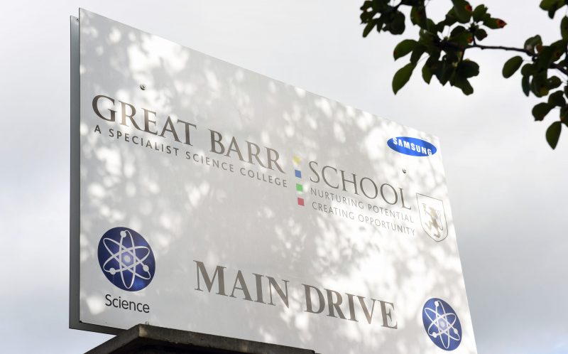 PIC FROM CATERS NEWS - (PICTURED: Great Barr School) - An 11-year-old boy had BLEACH poured in his eyes by a gang of bullies who chased him down the road. The school boy, named locally as Kyle, was saved by his glasses after a fellow pupil poured bleach out of a Lucozade bottle on his face. Police are now investigating the horrific attack, in Birmingham West Midlands, which happened as Kyle and two friends walked home from school. Kyle had allegedly told one of the attackers to shut up after an altercation about another boy earlier that day. It is believed the attacker spotted Kyle after school and jumped onto a bus to grab his five mates, saying: Ive got some people who need sorting out. SEE CATERS COPY.