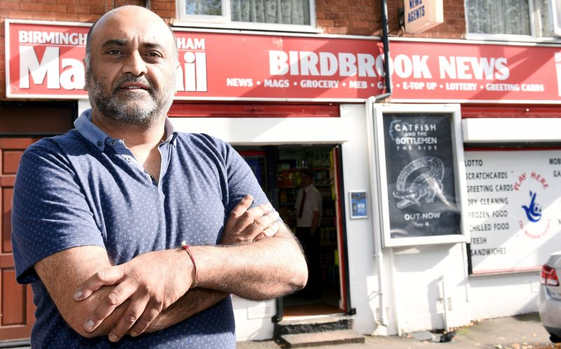 PIC BY MIKEY JONES/ CATERS NEWS - (PICTURED: Bal Showker, owner of Birdbrook News, said the group were screaming when they burst into his shop.) - An 11-year-old boy had BLEACH poured in his eyes by a gang of bullies who chased him down the road. The school boy, named locally as Kyle, was saved by his glasses after a fellow pupil poured bleach out of a Lucozade bottle on his face. Police are now investigating the horrific attack, in Birmingham West Midlands, which happened as Kyle and two friends walked home from school. Kyle had allegedly told one of the attackers to shut up after an altercation about another boy earlier that day. It is believed the attacker spotted Kyle after school and jumped onto a bus to grab his five mates, saying: Ive got some people who need sorting out. SEE CATERS COPY.