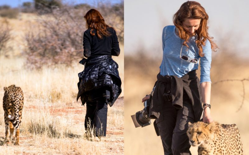 PIC BY JEAN WIMMERLIN/CATERS NEWS - (PICTURED: Julia takes a walk with the cheetah.) -  Forget mans best friend  this is womans best friend! This adorable friendship between a woman and a CHEETAH will melt your heart. The cute snaps were taken by Julia and Jean Wimmerlin, from Switzerland, during a stay at Lapa Lange Lodge in Namibia. The spotted cats were in a playful mood as they bounded around like kittens with their new pal. SEE CATERS COPY.