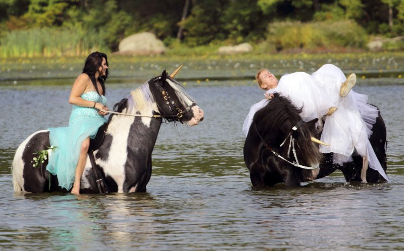 PIC BY TROY ILLOSKI/ CATERS NEWS - Sue Allegretta being thrown off her horse whilst her friend Mackenzie Vulgaris st calmy on her horse watching.