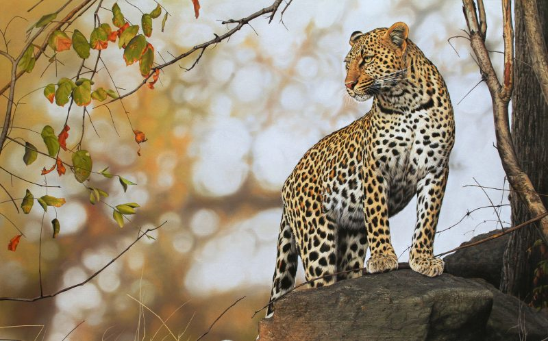 PIC BY LEON FOUCHE / CATERS NEWS -A hyper realistic painting of a standing leopard by Leon Fouche.
