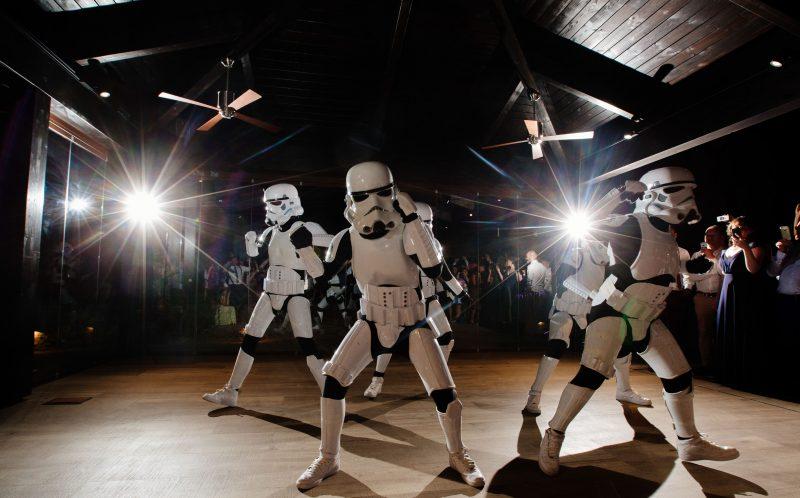 PIC BY PHIL BARRETT/MERCURY PRESS (PICTURED: THE STORMTROOPERS DANCE)A bride surprised her wedding guests by dancing as a Star Wars STORMTROOPER alongside Britains Got Talent sensations Boogie Storm for her first dance. Kathryn Holloway, 31, and Philip Wood, 37, stunned friends and family at their wedding in Granada, Spain, in September when they announced the BGT finalists as their reception entertainment. But guests of the couple were even more gobsmacked when the routine reached its finale and Kathryn whipped off her iconic white helmet to reveal SHE was one of the five Stormtrooper dancers. SEE MERCURY COPY