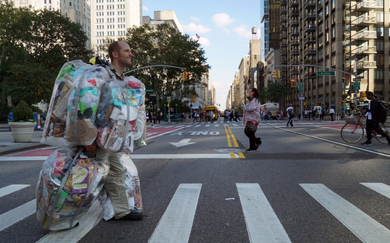 PIC BY GARY BENCHEGHIB / CATERS NEWS - An activist who spent 30 days pocketing all of his trash.