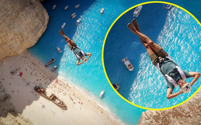 *** MANDATORY PIC BY BRIAN MOSBAUGH/ CATERS NEWS *** - (PICTURED: Matt Blank jumping over The beautiful Navagio Beach very relaxed) - This incredible footage of daredevils leaping from a cliff towards clear blue sea will take your breath away. High above a stunning beach with white sands and crystal-clear waters in Zakynthos, Greece, photographer Brian Mosbaugh prepared to take the nail-biting leap. The beautiful Navagio Beach, also known as Shipwreck Beach, sees hundreds of fearless adrenaline junkies tackle its infamous BASE jump. Brian, 31, from Texas, said: The act of human flight is mind-blowing on its own, however flying above Shipwreck Beach was certainly in my top five favourite exits experienced as a BASE jumper. SEE CATERS COPY.