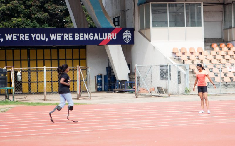 PIC FROM CATERS NEWS - Shalini Saraswathi, 37 running in her blades.