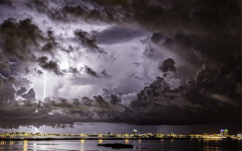 PIC BY CHAD WEISSER/ CATERS NEWS - The storm brewing over Miami.