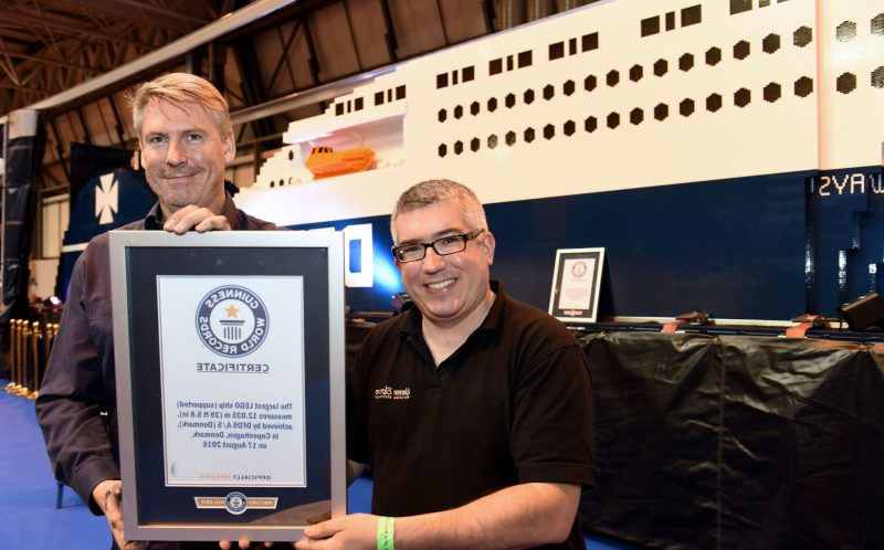 PIC BY KORAY EROL/ CATERS NEWS - Warren Elsmore and his colleague on the lego ship.