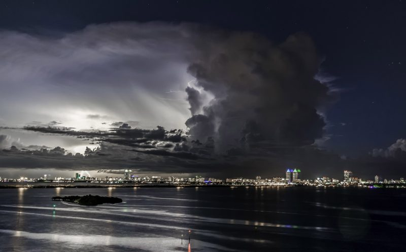 PIC BY CHAD WEISSER/ CATERS NEWS - The storm over Miami.