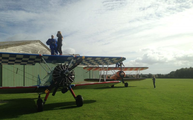 PIC FROM MERCURY PRESS - A thrill-seeking great gran has fulfilled her lifelong dream of doing a wing walk at 81.