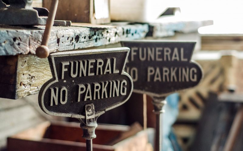 *** MANDATORY BYLINE PIC BY BULLET/ CATERS NEWS *** - (PICTURED: Funeral no parking signs) - Abandoned buildings do not get much creepier than this funeral home, left to deteriorate for three years having helped to bury the dead since the 19th century. These vivid pictures inside the eerie, former Moulton and Kyle Funeral Home in Jacksonville, Florida were taken by photographer, Bullet from Miami. Bullet, 27, said: The power was still on so what you see in one of the photos is an actual light bulb that we turned on. Theres the front lobby which leads into the chapel. From the lobby, you can go upstairs to the showroom where you can see the roof had collapsed most likely from water damage. SEE CATERS COPY.