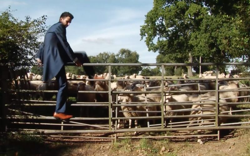 PIC FROM CATERS NEWS - (PICTURED: A video plays showing Stuarts Epic journey to get the forgotten rings. Stuart climbs over a fence out of a paddock of sheep.) - A groom left his bride standing at the altar during their wedding ceremony and dashed out of the church as part of an elaborate forgotten the rings prank. The church wedding appeared to be going off without a hitch, until half-way through the ceremony, trickster groom Stuart Kettell fooled his bride, best man and wedding guests into thinking hed forgotten the rings. Believing the wedding couldnt go ahead without them, guests watched in shock as Stuart ran out of the church leaving his bride-to-be Vicky, and best man Robert Kettell, standing at the altar. But as soon as the church door slammed behind him a screen dropped down at the front of the church showing a pre-recorded video of Stuart making an epic journey home to retrieve the rings. SEE CATERS COPY.