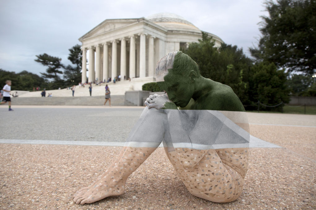 ***MANDATORY BYLINE*** PIC BY TRINA MERRY/CATERS NEWS (PICTURED: A female model disappears into Jefferson Memorial in Washington DC, US) - A New York artist has used body paint to perfectly camouflage her subjects into a variety of famous landmarks. Trina Merry, who specialises in bodypainting, line her subjects up and photographed them as they appeared to blend right into the scenery around them. The backdrops to her eye-catching art include the White House, Freedom Tower, Grand Central Station, the Golden Gate Bridge, and even Irelands Giants Causeway. By painting her subjects into a modern background, Trina is putting a modern twist on the oldest art form known to man.SEE CATERS COPY