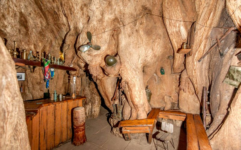 PIC FROM SUNLAND FARM/ CATERS NEWS - (PICTURED: The bar inside Baobab before the split.) -Well have to split the bill...a 1000 year old tree that had a BAR fashioned in its hollow middle has collapsed - after the tree was struck by lightning. The Baobab tree, in Limpopo, South Africa, became a major tourist attraction after owner Heather van Heerden turned it into a bar. But she was devastated when a recent thunderstorm literally split the bar in two - after striking the trees enormous branches. The baobab tree has been dated back by recent technology to 1100 years and is even believed to be older than the Pyramids. SEE CATERS COPY