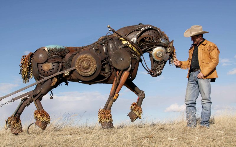 PIC BY JOHN LOPEZ/ CATERS NEWS - (PICTURED: The Shire horse) - They say one mans junk is another mans treasure and this certainly rings true for this artist who creates incredible sculptures of horses from scrap metal. The large and intricate sculptures are the work of artist John Lopez who welds the pieces from metal and old farm machinery. John, 43, from South Dakota, USA, once enjoyed a career in bronze sculpting but now uses his talents to create his own artworks. His collection includes a number of life-size horses and buffalo with each on taking up to six months to complete. - SEE CATERS COPY