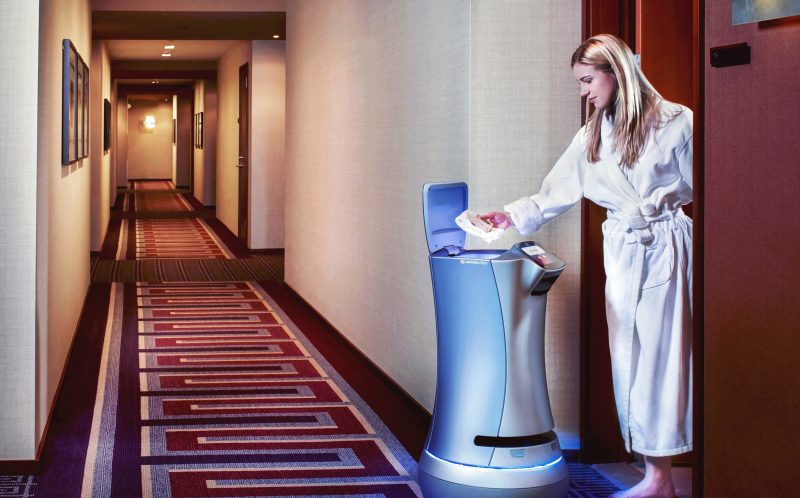 PIC BY SAVIOKE / CATERS NEWS - (PICTURED: Robot butler delivers towels) - A luxury Los Angeles complex is offering ROBOT butlers - and could cost up to 5,000 (18,890) a month. Ten Thousand a 40-story tower in Beverly Hills, California offers first-of-their-kind tech. The robot from Savioke named CHARLEY is the first in a residential building.It can deliver packages, meals and beverages right to the door and can even operate elevators on its own.Residents will be able to order delivery items via iPad Mini 4s, presented to each residence upon move-in. A team of butlers will receive the requests and place the items inside CHARLEYs secure interior compartment for delivery. SEE CATERS COPY
