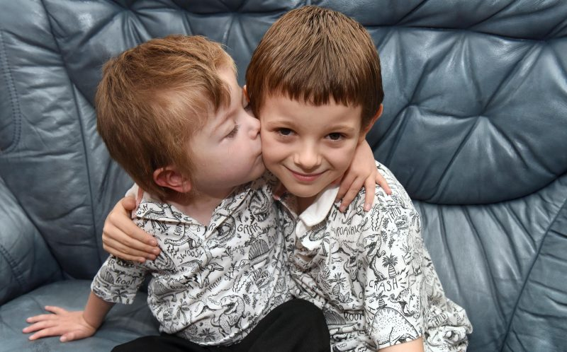 PIC BY LAURA SHEPHERD/MERCURY PRESS - Left, Romeo, now 4 and right, brother Wyley, 8, from Rock Ferry, Liverpool.