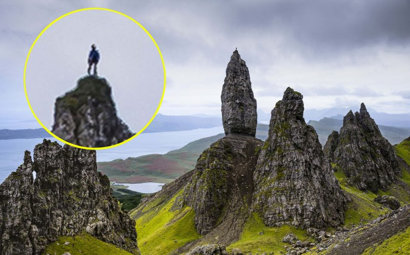 *** MANDATORY BYLINE PIC BY DAVE CUTHBERTSON/ CATERS NEWS *** - (PICTURED: Dave Macleod standing on top of the Old Man of Storr, Skye) - Talk about feeling on top of the world! This man clambered to the top of a dangerous rock and was rewarded with stunning views across the Scottish coast. Dave MacLeod, from Glasgow, braved the treacherous conditions to climb the Old Man of Storr - a rocky hill on the Trotternish peninsula of the Isle of Skye, in Scotland. The steep rocky cliff face is full of loose gravel, and one foot out of place could see climbers tumbling to their death - but daredevil Dave managed to make it to the top, where he was photographed by pal Dave Cuthbertson. Professional rock climber Dave, 38, said: This is the only time Ive climbed the Storr - the rock is very loose so its quite a dangerous route, and has not had many ascents. SEE CATERS COPY.