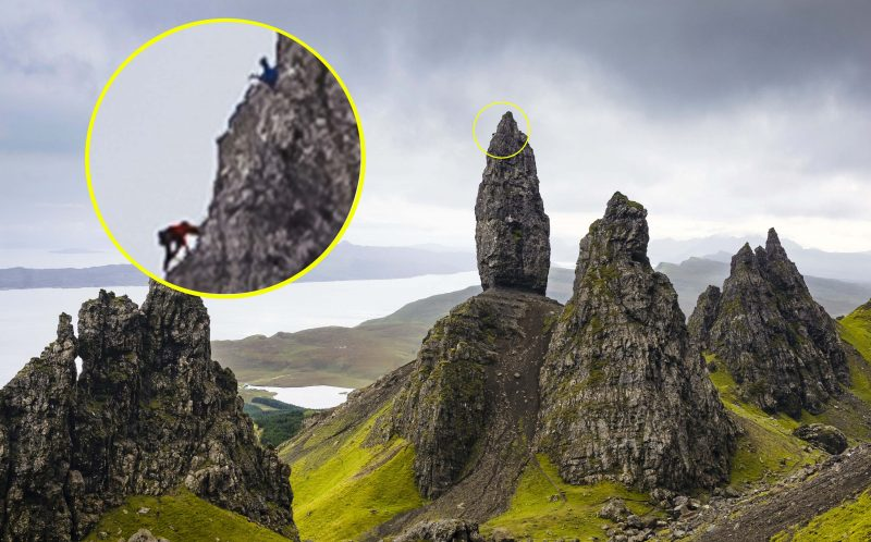*** MANDATORY BYLINE PIC BY DAVE CUTHBERTSON/ CATERS NEWS *** - (PICTURED: Blair Fyffe climbing The Old Man of Storr, Skye, following Dave Macleod, who is holding the ropes) - Talk about feeling on top of the world! This man clambered to the top of a dangerous rock and was rewarded with stunning views across the Scottish coast. Dave MacLeod, from Glasgow, braved the treacherous conditions to climb the Old Man of Storr - a rocky hill on the Trotternish peninsula of the Isle of Skye, in Scotland. The steep rocky cliff face is full of loose gravel, and one foot out of place could see climbers tumbling to their death - but daredevil Dave managed to make it to the top, where he was photographed by pal Dave Cuthbertson. Professional rock climber Dave, 38, said: This is the only time Ive climbed the Storr - the rock is very loose so its quite a dangerous route, and has not had many ascents. SEE CATERS COPY.